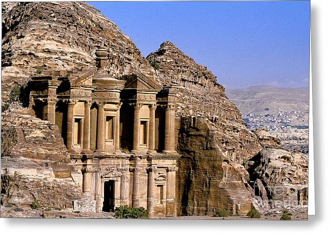 Ad Deir, Petra, Jordan Greeting Card by Adam Sylvester
