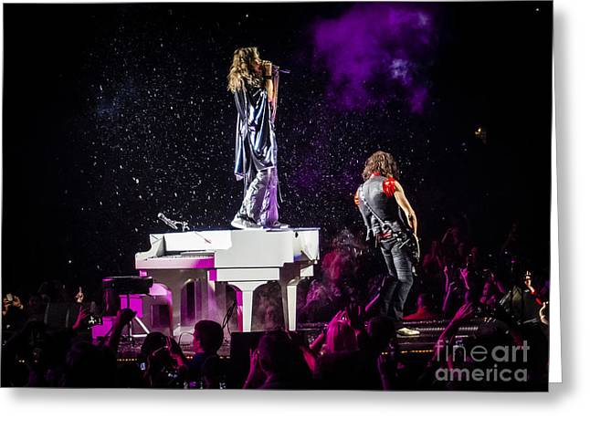 Aerosmith Steven Tyler Joe Perry In Concert Greeting Card