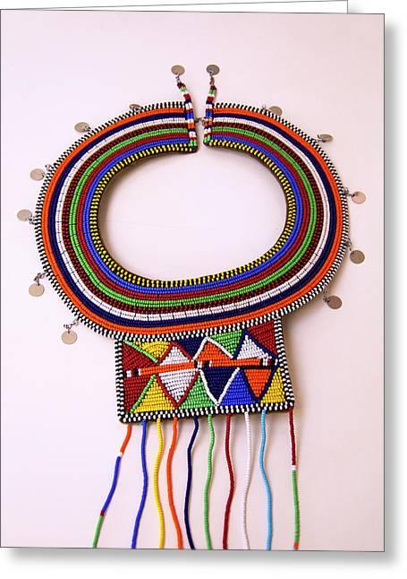 Africa, Kenya Maasai Tribal Beads Greeting Card by Kymri Wilt
