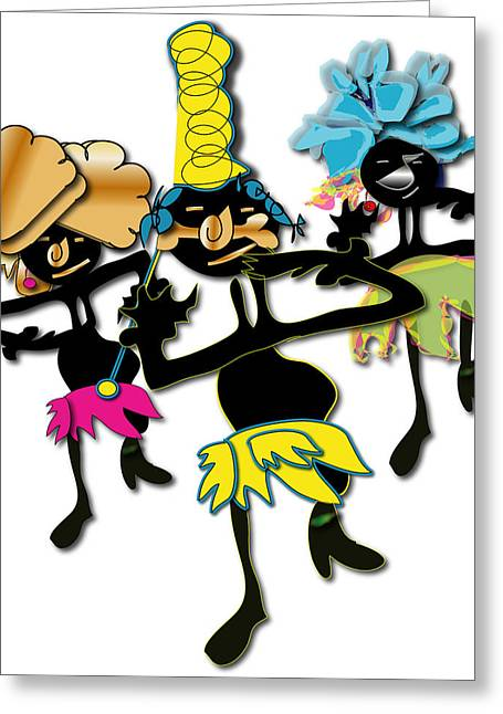Greeting Card featuring the digital art African Dancers by Marvin Blaine