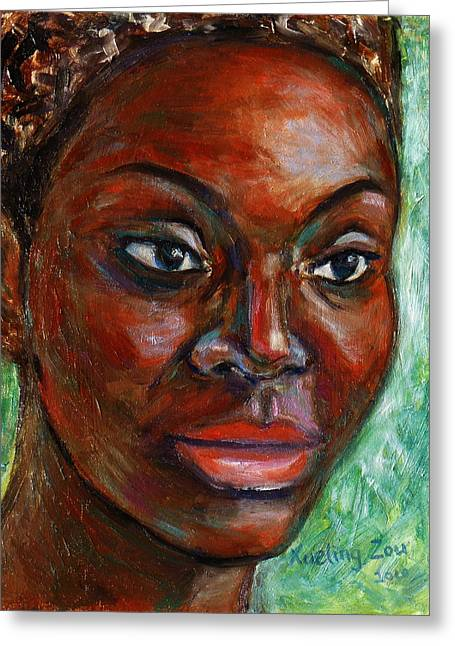 Greeting Card featuring the painting African Woman by Xueling Zou