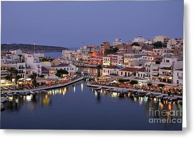 Agios Nikolaos City During Dusk Time Greeting Card