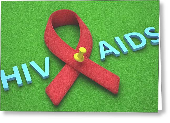 Aids Red Ribbon Greeting Card by Ktsdesign
