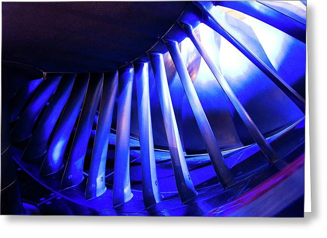 Aircraft Engine Fan Blades. Greeting Card by Mark Williamson