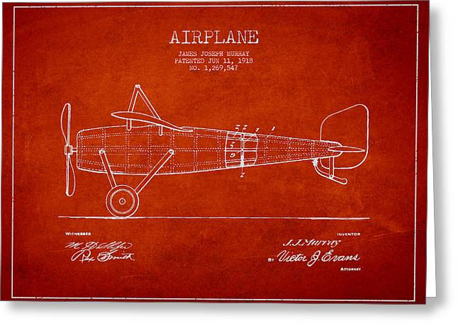 Airplane Patent Drawing From 1918 Greeting Card by Aged Pixel
