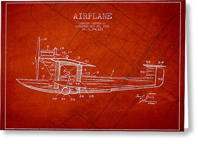 Airplane Patent Drawing From 1921 Greeting Card by Aged Pixel
