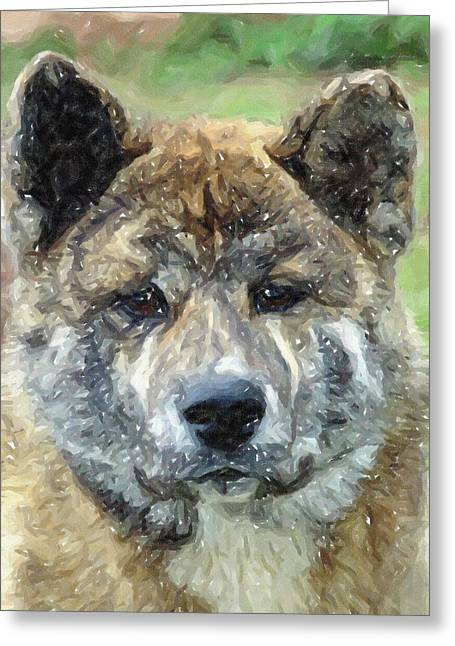 Akita Dog Portrait Greeting Card by Olde Time  Mercantile
