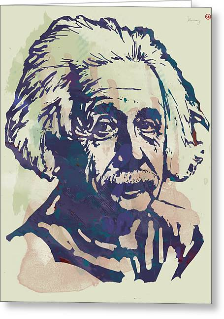 Albert Einstei - Pop Stylised Art Sketch Poster Greeting Card by Kim Wang
