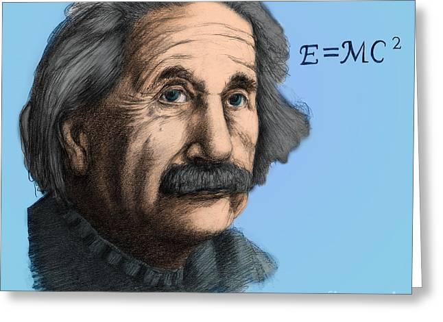 Albert Einstein, German-american Greeting Card by Spencer Sutton