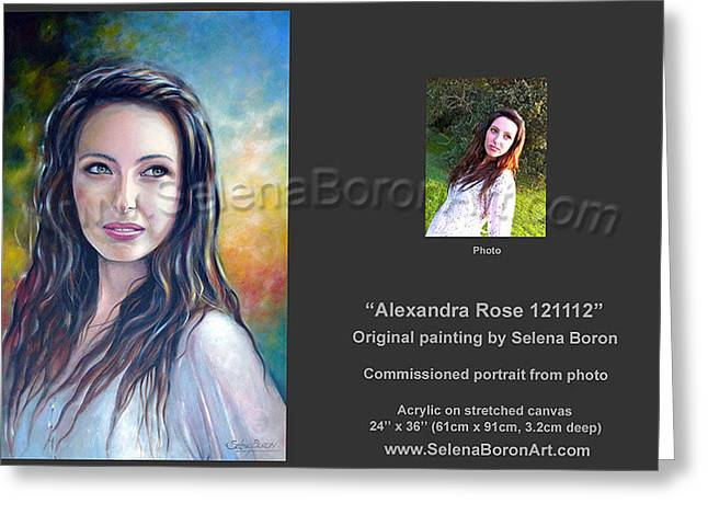 Greeting Card featuring the painting Alexandra Rose 121112 by Selena Boron