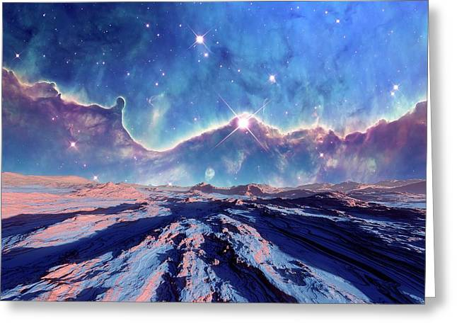 Alien Planet And Nebula Greeting Card
