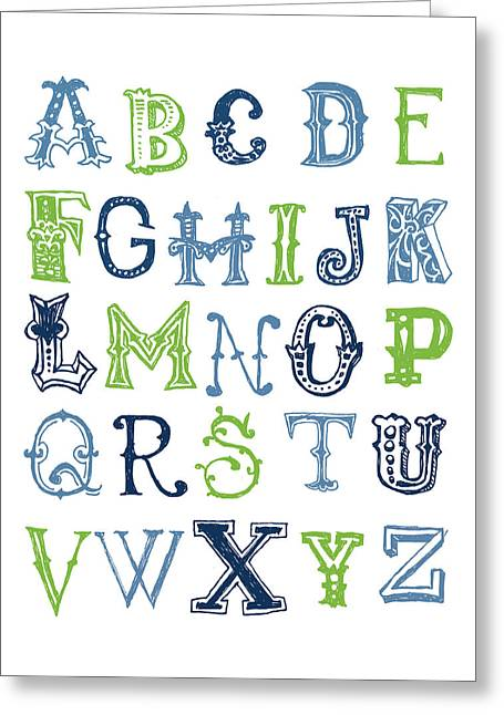 Greeting Card featuring the digital art Alphabet Poster by Jaime Friedman