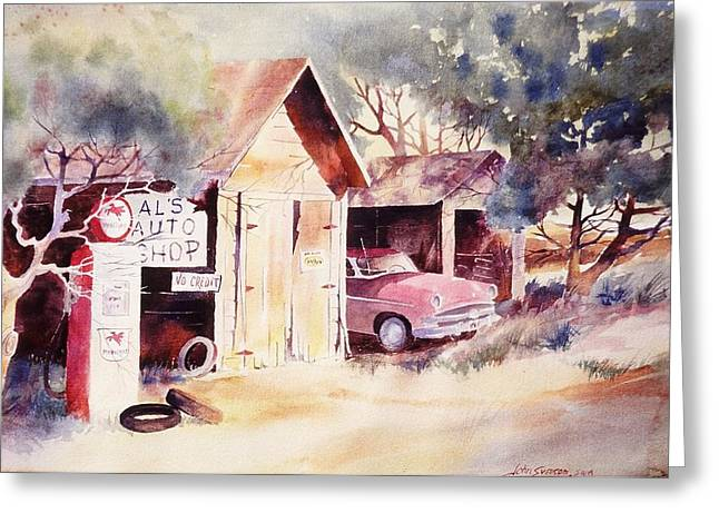 Greeting Card featuring the painting Al's Auto Shop by John  Svenson