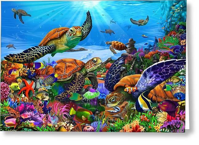 Amazing Undersea Turtles Greeting Card