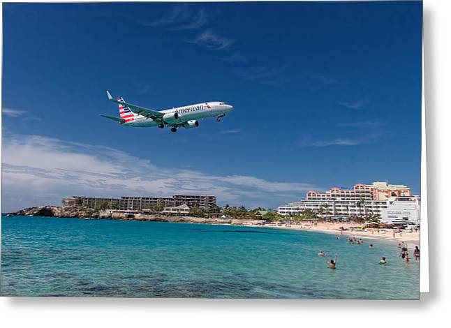American Airlines At St Maarten Greeting Card