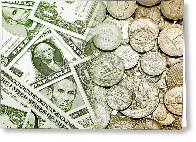 American Currency  Greeting Card by Les Cunliffe