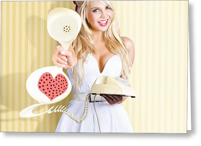 American Girl In Pinup Fashion With Retro Phone Greeting Card