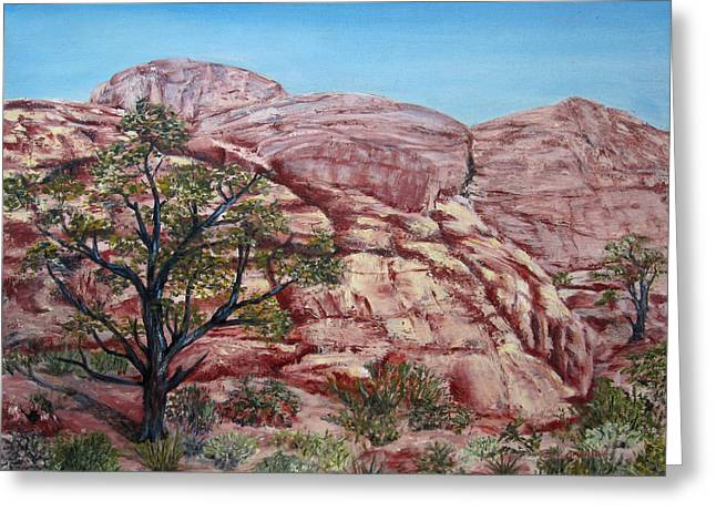 Among The Red Rocks Greeting Card by Roseann Gilmore