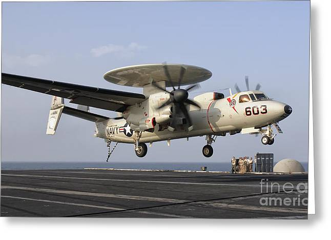 An E-2c Hawkeye Landing On The Flight Greeting Card by Giovanni Colla