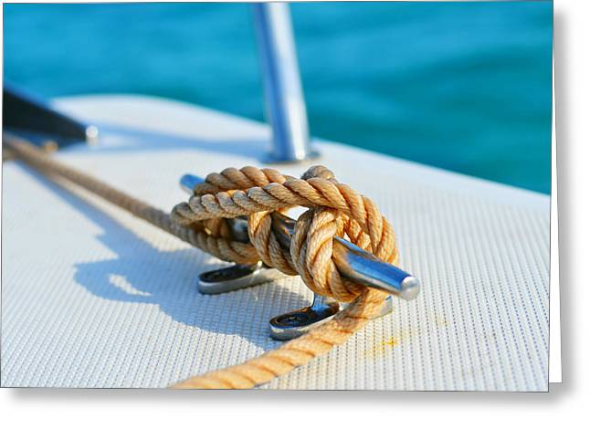 Anchor Line Greeting Card by Laura Fasulo