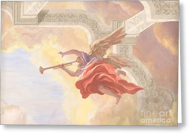 Angel In Flight Greeting Card by John Alan  Warford