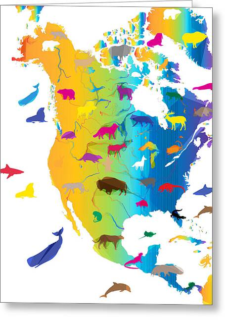 Animal Map Of North America Greeting Card by Celestial Images