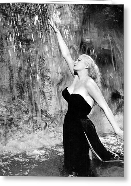 Anita Ekberg In La Dolce Vita  Greeting Card by Silver Screen