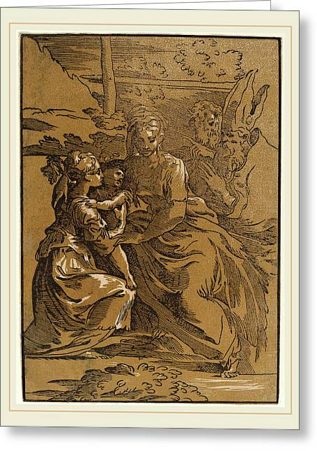 Antonio Da Trento After Parmigianino Italian Greeting Card by Litz Collection