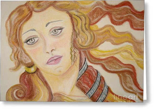 Greeting Card featuring the painting Aphrodite Goddess Of Love by Lori  Lovetere