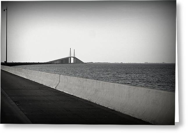 Approaching The Skyway Greeting Card by Laurie Perry