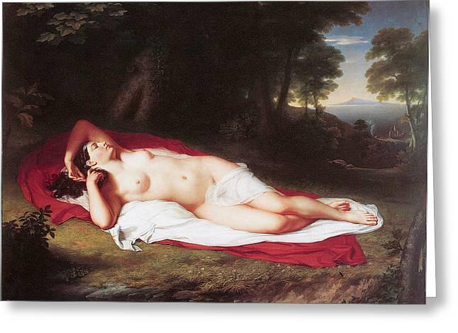 Ariadne Asleep On The Island Of Naxos Greeting Card by John Vanderlyn