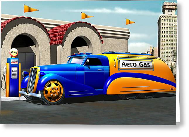 Art Deco Gas Truck Greeting Card