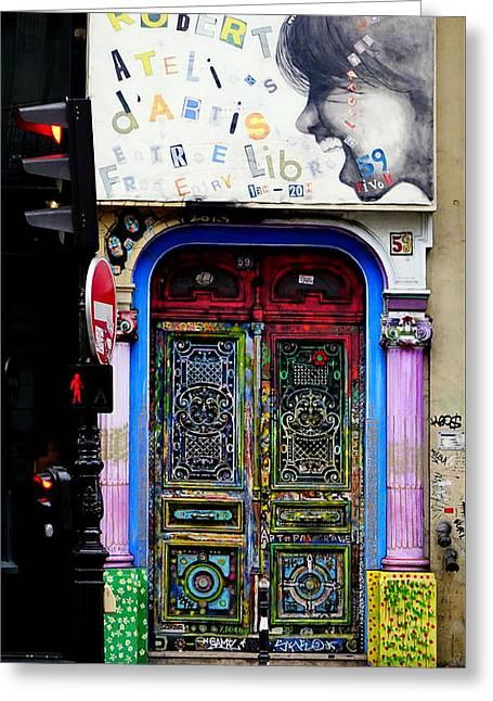 Artistic Door In Paris France Greeting Card by Richard Rosenshein