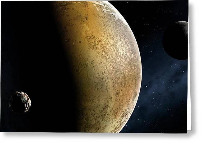 Artwork Of The Pluto System Greeting Card by Mark Garlick