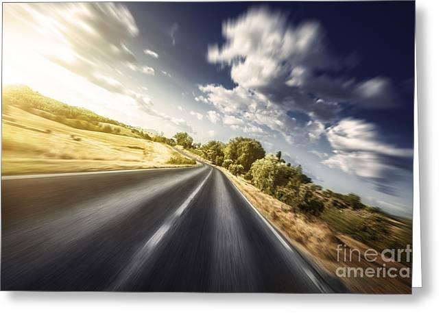Asphalt Road In Field Against Moody Greeting Card by Evgeny Kuklev