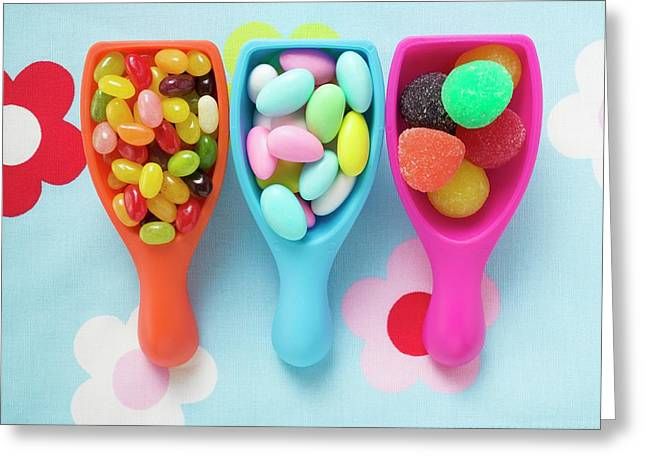 Assorted Coloured Sweets In Plastic Scoops Greeting Card
