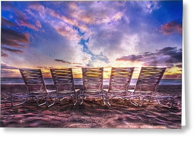 At The Beach Greeting Card by Debra and Dave Vanderlaan