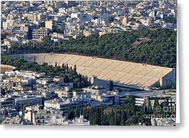 Athens And Panathenean Stadium Greeting Card by George Atsametakis