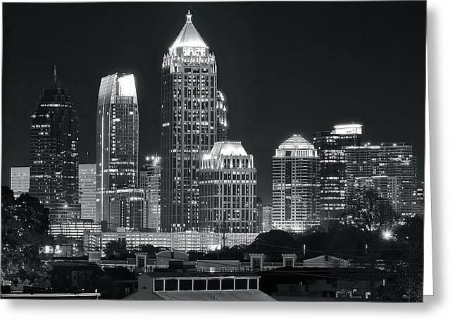 Atlanta Black And White Night Greeting Card