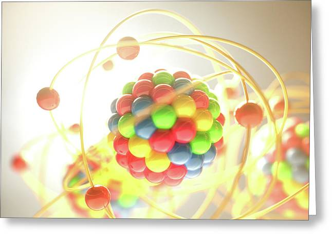 Atomic Model Greeting Card by Ktsdesign/science Photo Library