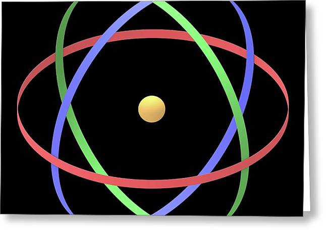Atomic Structure Greeting Card by Alfred Pasieka