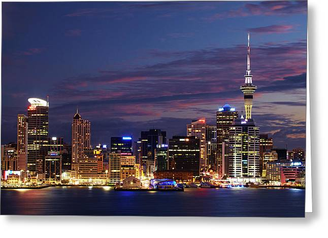 Auckland Cbd, Skytower, And Waitemata Greeting Card