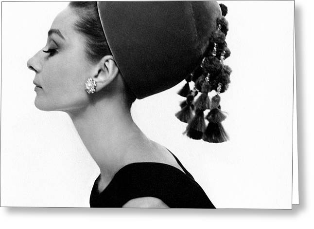 Audrey Hepburn Wearing A Givenchy Hat Greeting Card by Cecil Beaton