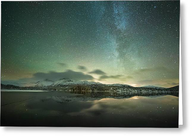 Aurora Borealis And Milky Way Greeting Card by Tommy Eliassen