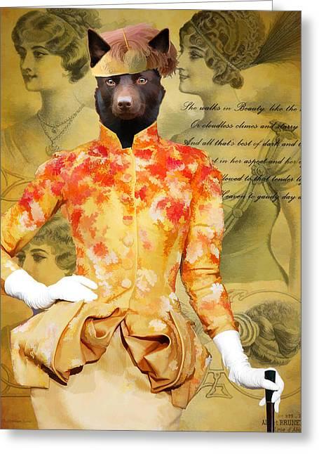 Australian Kelpie Art Canvas Print Greeting Card by Sandra Sij