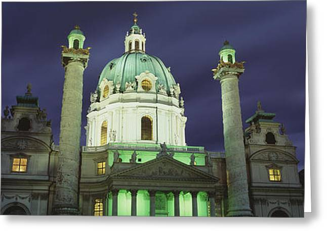 Austria, Vienna, Facade Of St. Charles Greeting Card by Panoramic Images