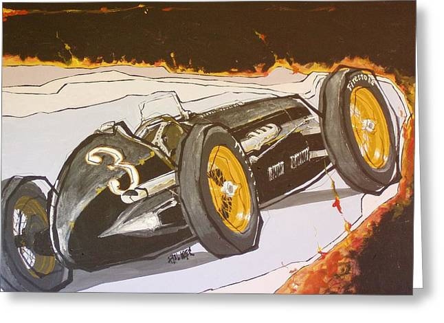 Automobile Racing Greeting Card by Paul Guyer
