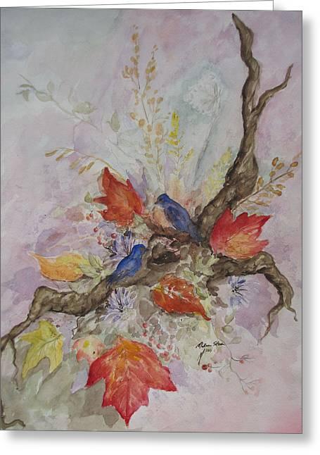 Autumn Bluebirds Greeting Card