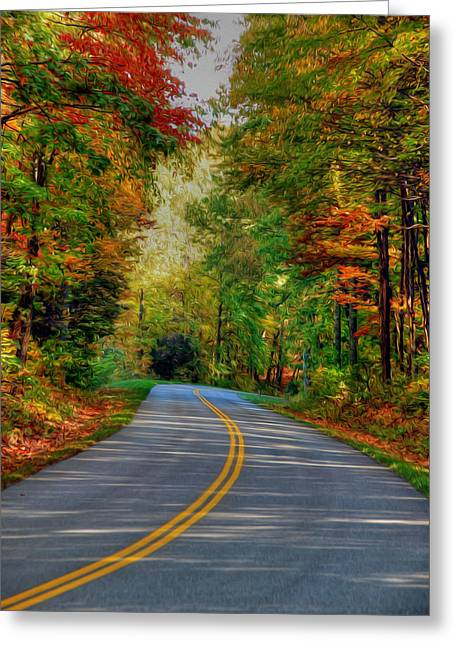 Greeting Card featuring the digital art Autumn Drive by Kelvin Booker