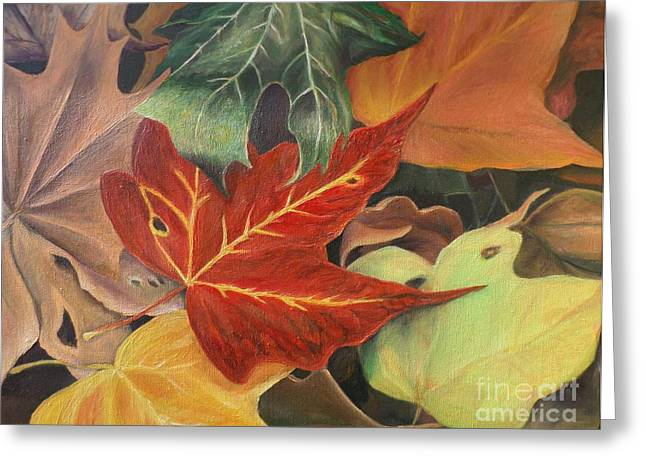 Greeting Card featuring the painting Autumn Leaves In Layers by Christy Saunders Church